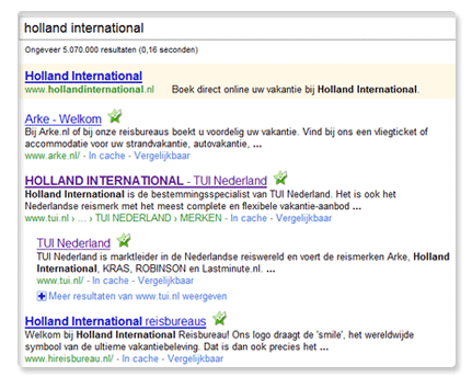 Holland International in Google organische resultaten
