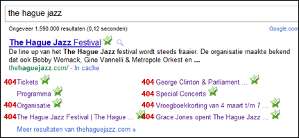 The Hague Jazz website 404 errors sitelinks