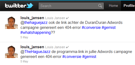 Tweets Louis Jansen aan The Hague Jazz